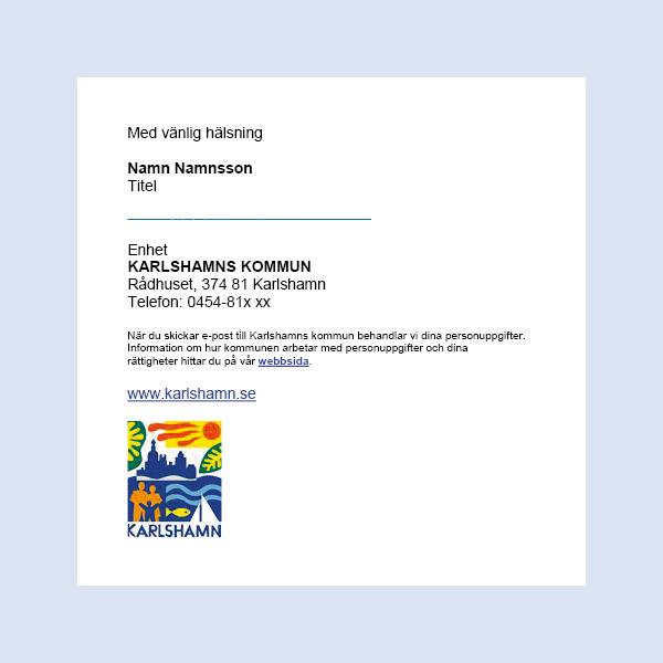 Skärmavbild, mall för e-postsignatur